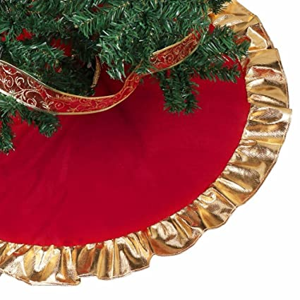 Christmas Tree Skirt Gold Red Christmas Tree Skirt With Golden Ruffle Edge Non Woven Fabric Christmas New Year Decorations 35 Inch Tree Skirt For