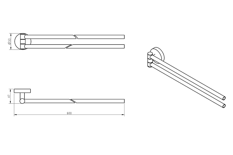 Acero inoxidable Cepillado Exclusivo toallero de acero inoxidable Cuarto de ba/ño Soporte de ba/ño Toalla Toallero Rack Barra Rod WC Ambrosya/® , 37,9 cm