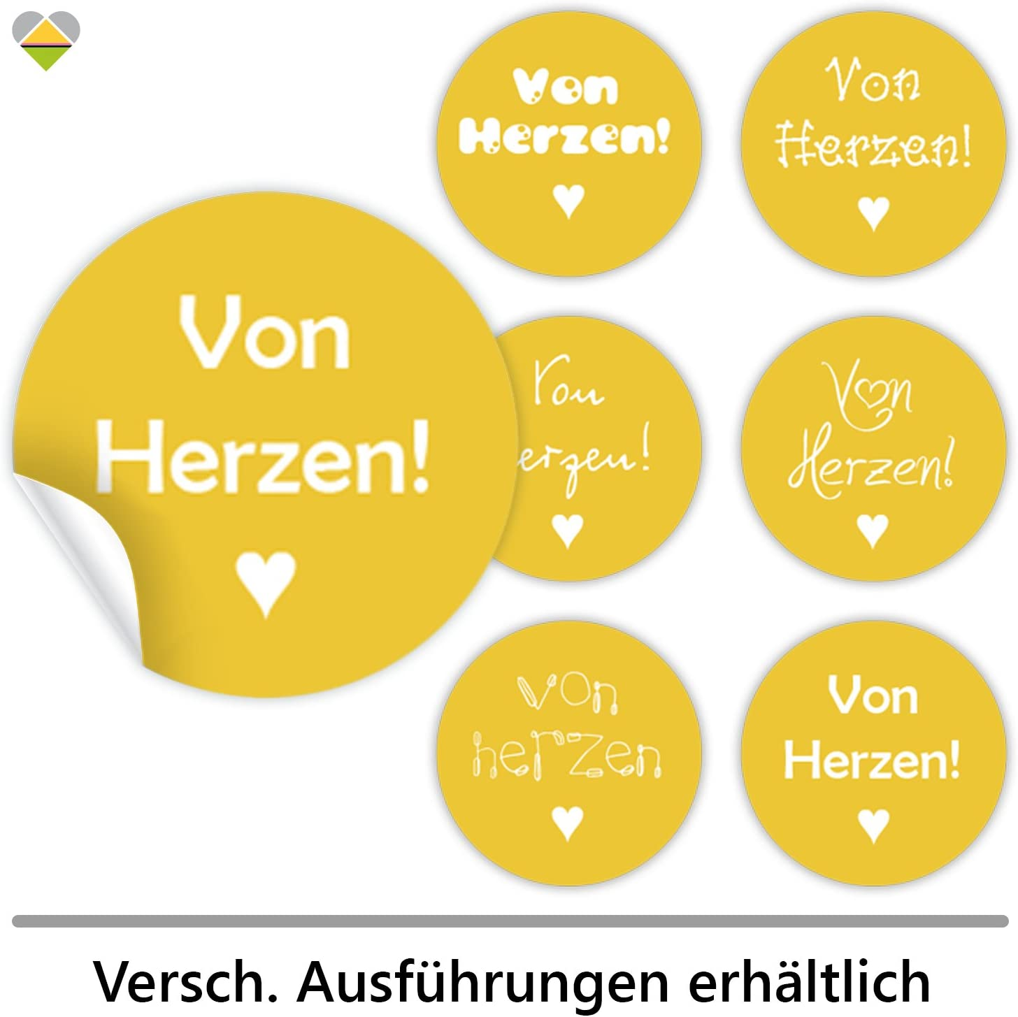 F00029-01 Selbstklebend Rund cute-head 24 Schmucketiketten von Herzen M /» /Ø 40 mm Spruch Wei/ß