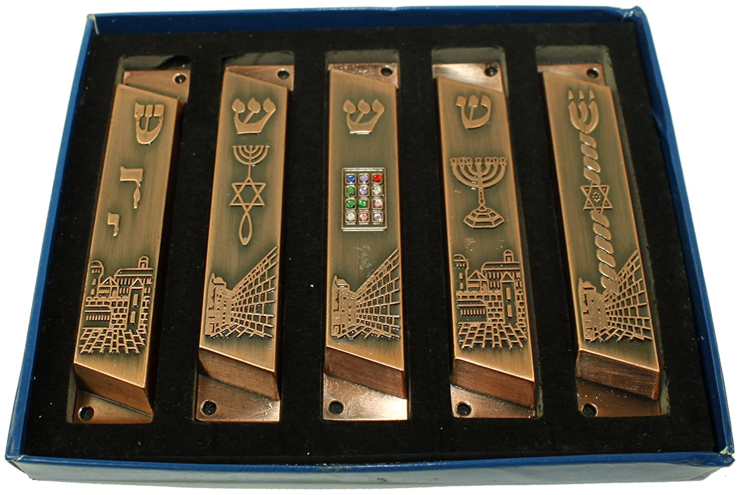 Large Set of 5 Copper Tone with Clean and Smooth Cut and Gold Plated Mezuzahs Symbols with Different enameled Themes Each is About 4 Inches and Comes with Scrolls and Screws for Hanging
