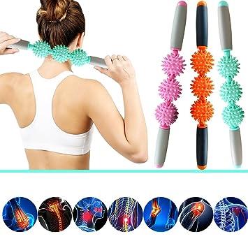 Rodillo de masaje muscular ergonómico de MHBY para músculos y celulitis, elimina grasas y alivia dolores de espalda y cuello