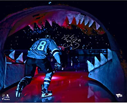 """eecad99f6 Brent Burns San Jose Sharks Autographed 16"""" x 20"""" Skating Out of  Shark's Mouth"""