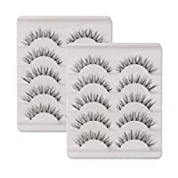 KFZR 10 Pairs False Lashes Eyelashes Natural Look Handmade Crisscross 3D Reusable Black