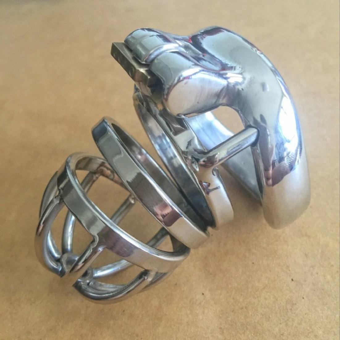 T-Day Cinturón de castidad Cinturón de castidad de acero inoxidable arco de metal macho arco inoxidable tarjeta de bloqueo de lazo curva radian pene, 50 mm inside snap ring f8a79e