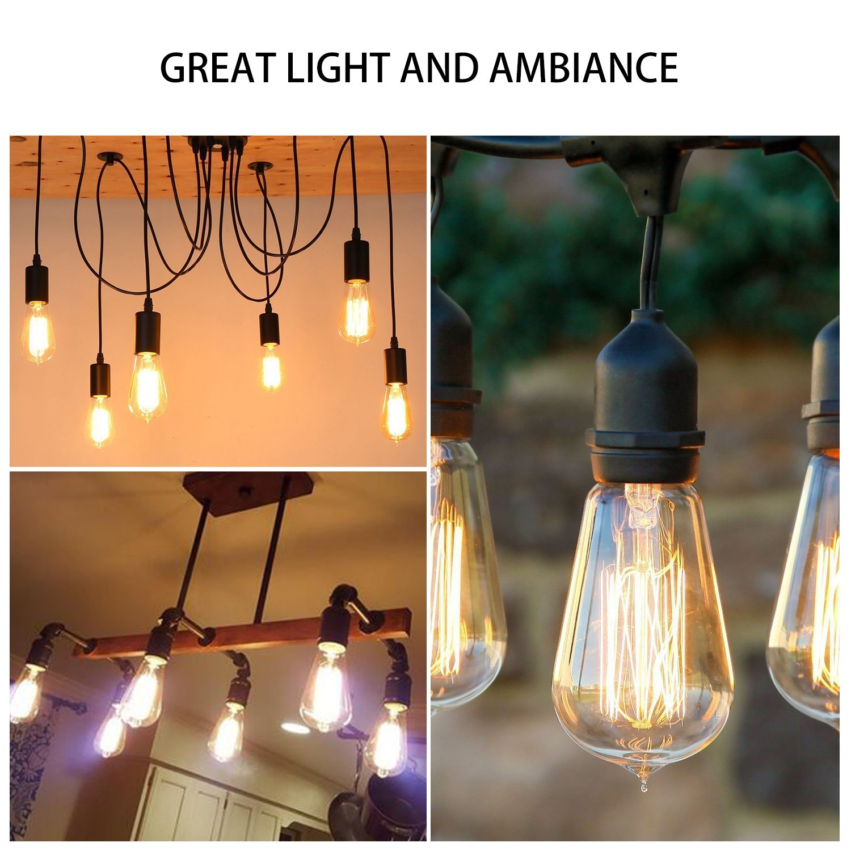 Oak Leaf Incandescent Light Bulbs 40 Watt, Amber Bulb 40W Edison Bulb Vintage Antique Filament Light Bulbs, 2400K Warm White(Amber Glow),Medium Screw Base E26,6 Pack by Oak Leaf (Image #6)