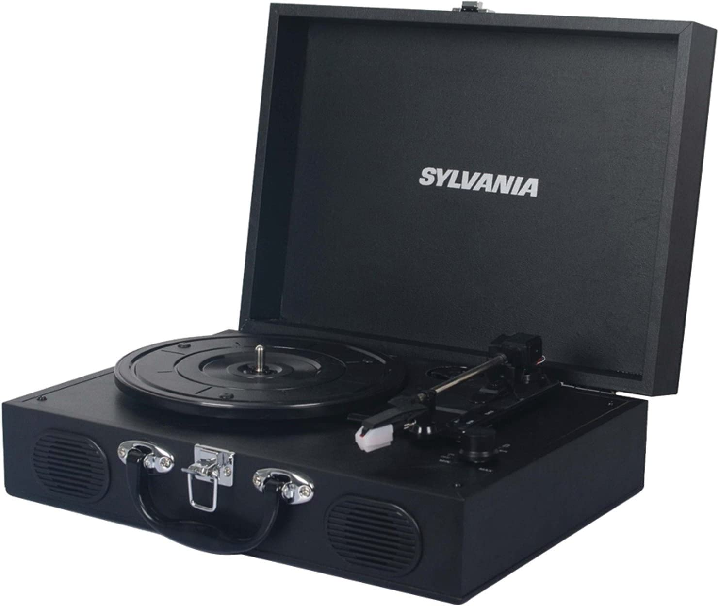 Sylvania STT104BT-Black Portable USB Bluetooth Encoding Turntable Record Player in Suitcase