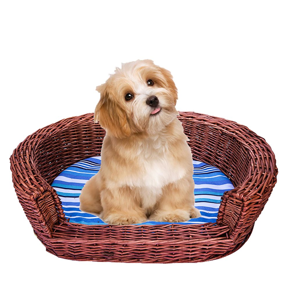 QIAIQQ Handmade Pet Bed Willow Woven Minimalism Kennel With Sponge Mat Soft Breathable Cat Nest Four Seasons Be Usable Environmental Predection Moisture-Proof Resistance To Bite Dog House