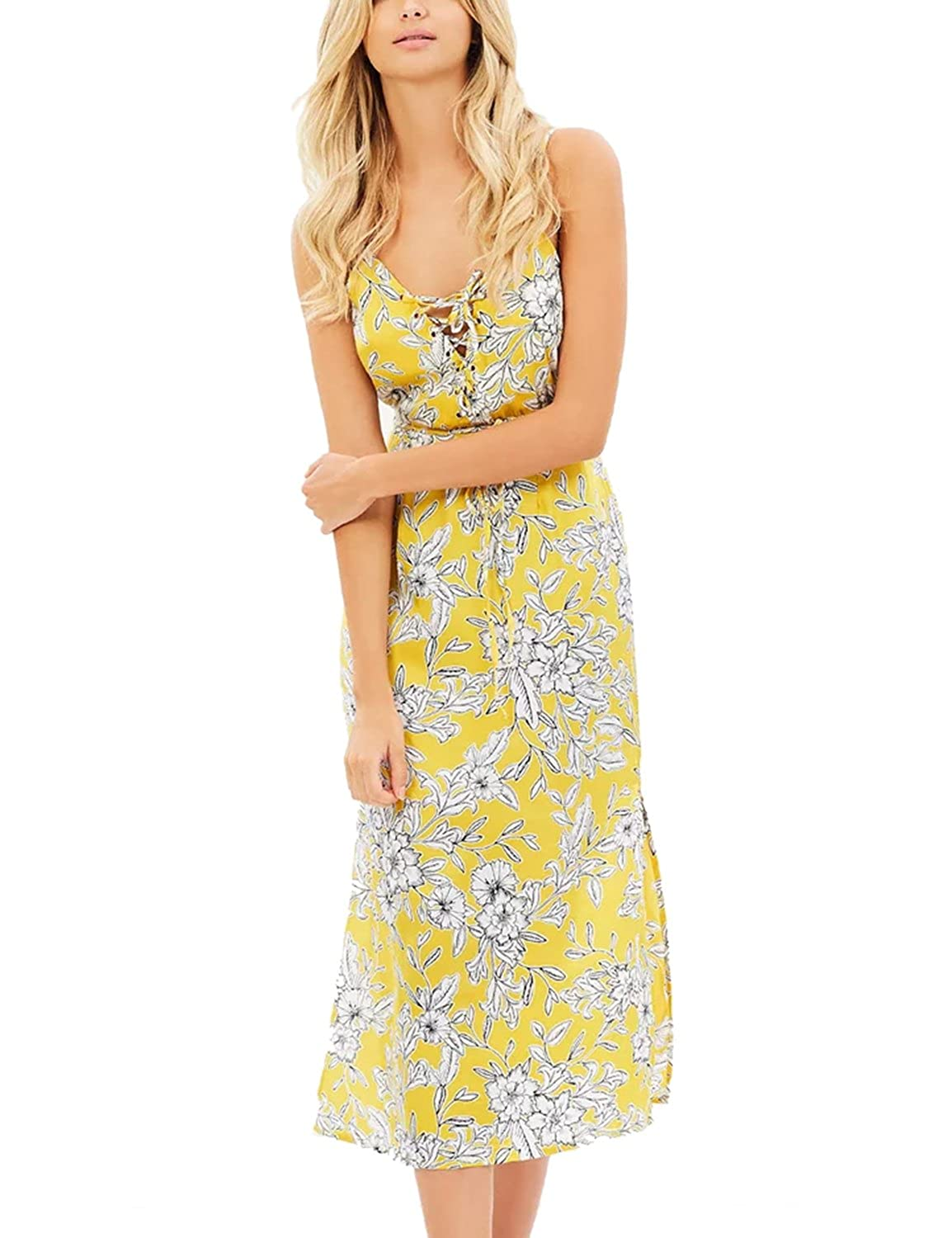 Design  You ll be the best dressed guest at any event you attend when  you re wearing the Sexy Deep V Neck Adjustable Spaghetti Straps Sleeveless  Yellow ... 64240dea8