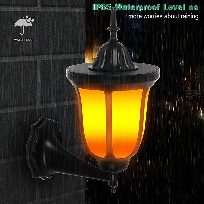 yiiyaa Lámpara de Césped LED de Energía Solar Iluminación Exterior Luces Farola de Paisaje Forma Antorcha Llama Parpadeante Alumbrado Impermeable al Aire ...