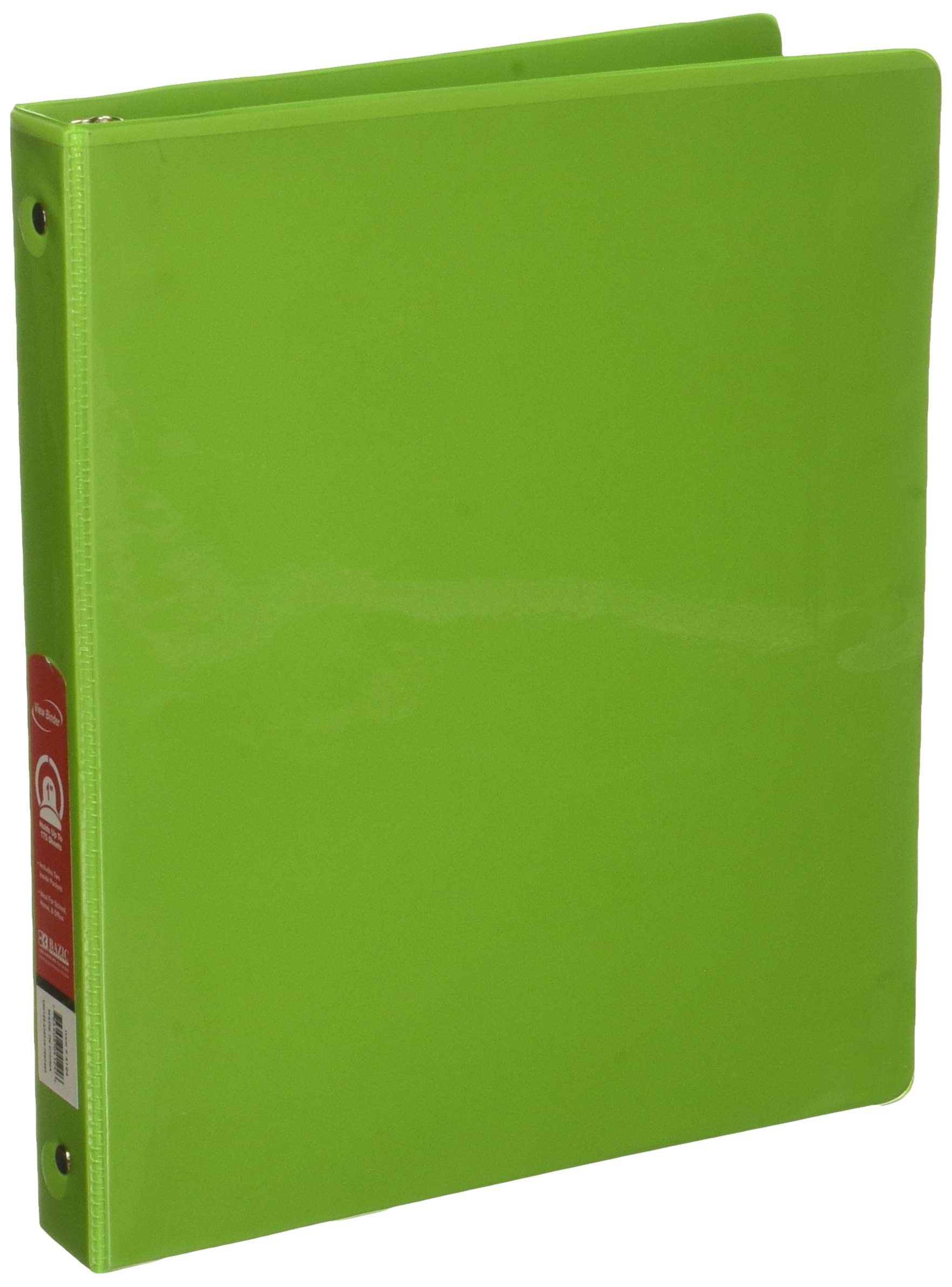 BAZIC 1'' Lime Green 3-Ring View Binder w/ 2-Pockets, Case of 12