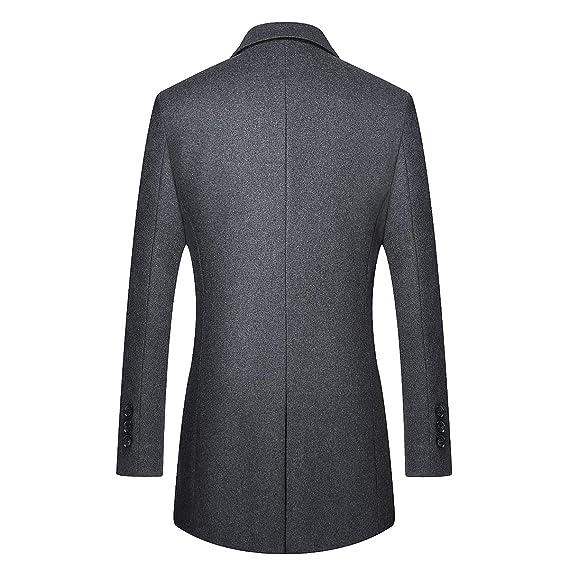 YOUTHUP Herren Mantel Slim Fit Wollmishcung Lange Winter Jacke Fleece Men s  Jacket  Amazon.de  Bekleidung 4f6582f7b3