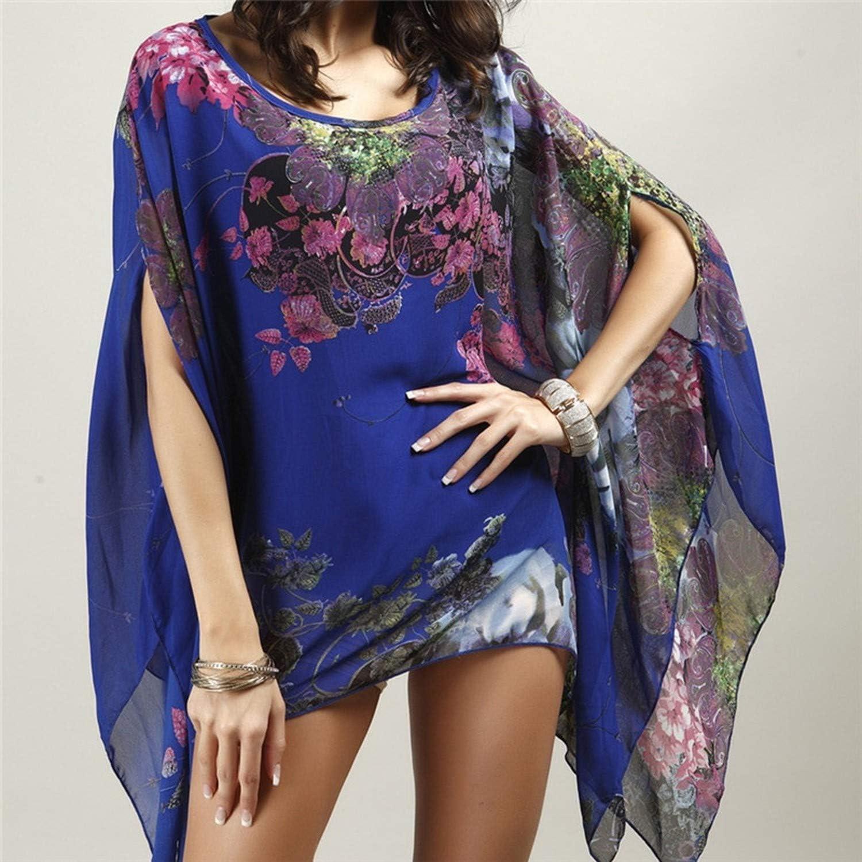 Floral Romantic Swimwear Ladies Pareo Beach Cape Sun Bath Beach Wear Dress,Dark Blue,One Size