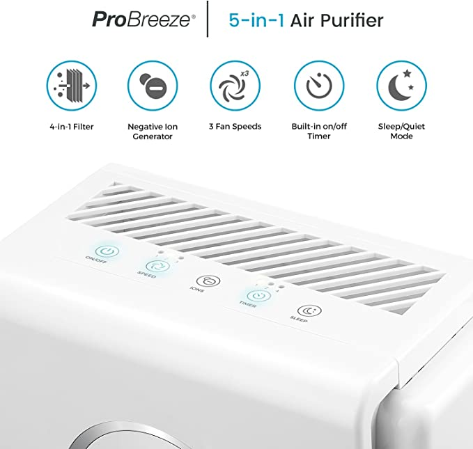 Pro Breeze Purificador de aire 5 en 1 con pre-filtro, filtro HEPA ...