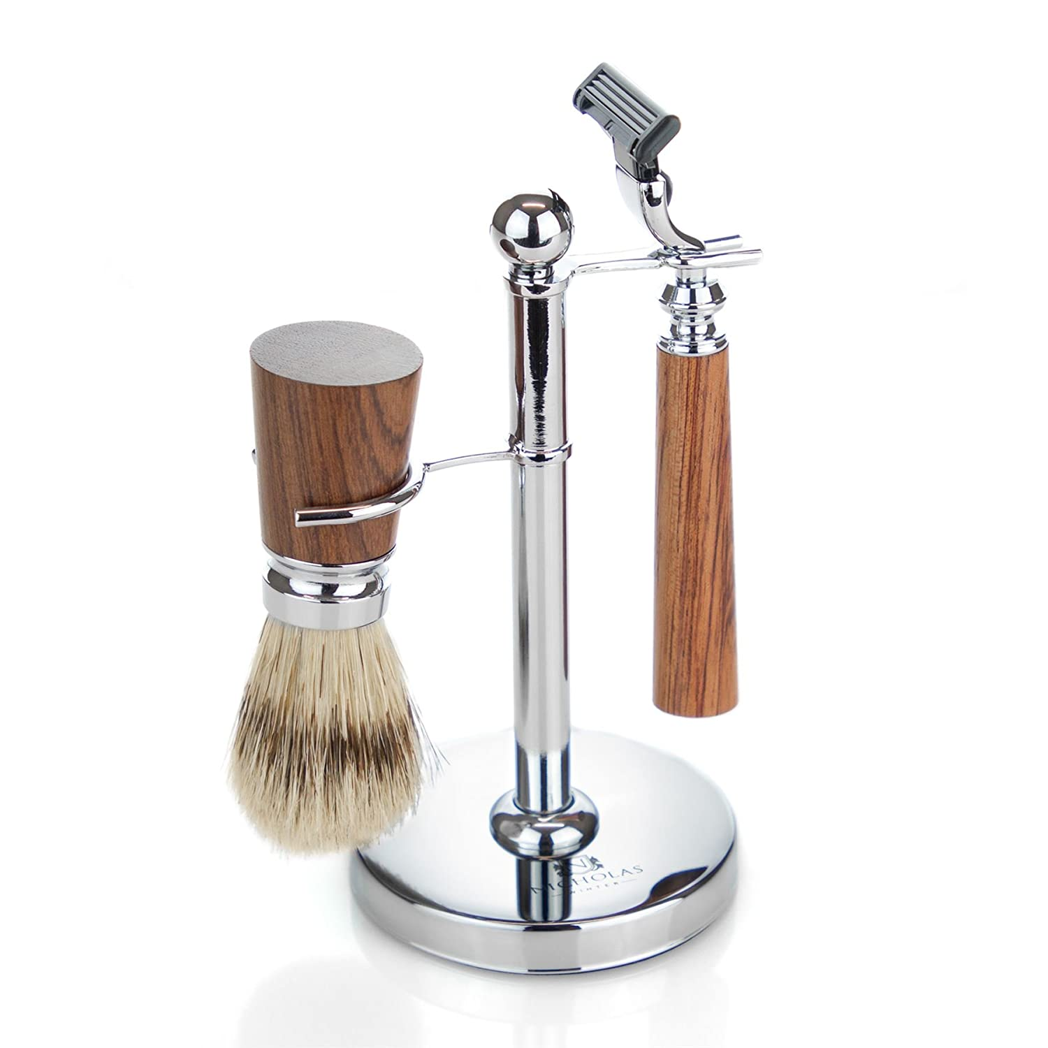 Nicholas Winter Shaving Set with Brush and Stand - Compatible with Gillette Mach 3 - Traditional Style in Brown