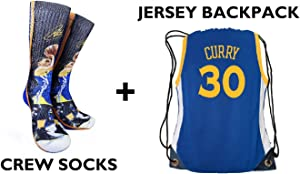 Forever Fanatics Golden State Curry #30 Ultimate Basketball Fan Gift Set Bundle ✓ Curry #30 Crew Socks Sizes 6-13 ✓ Matching Curry #30 Jersey Drawstring Backpack
