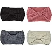 DRESHOW 4 Pack Crochet Tricot Turban Bandeau Chaud Volumineux Crochet Head Wrap Bandeau Ear Warmer pour Femmes