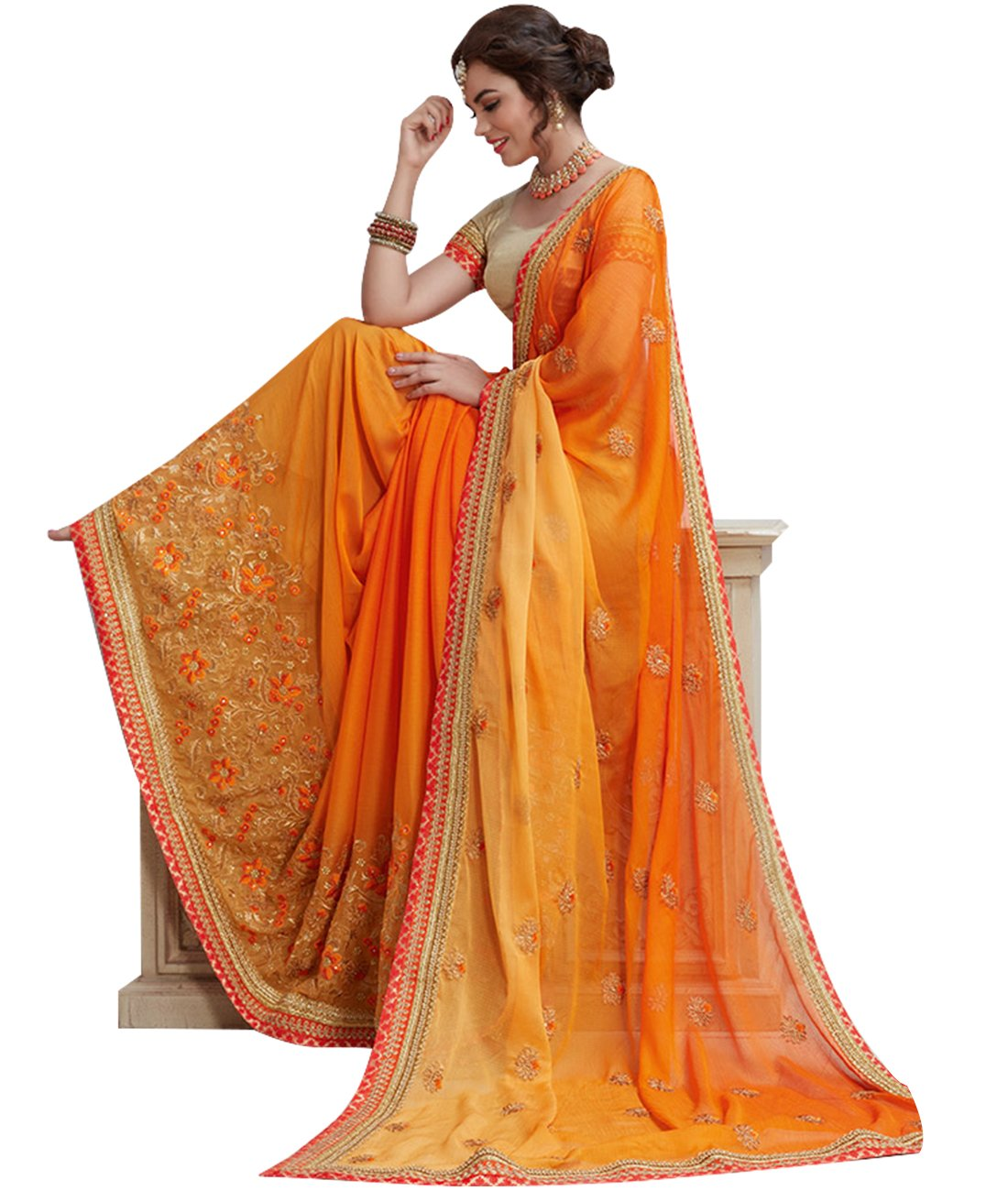 Indian Ethnic Satin Chiffon Ombre Golden Orange Fancy Saree