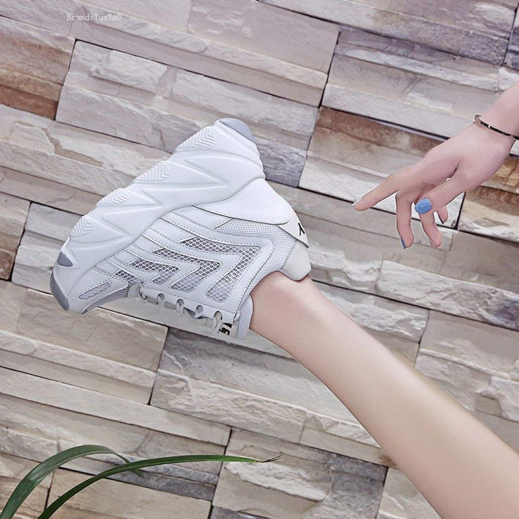 Women Sneakers Platform High Heels Mesh Breathable Wedge Casual Shoe 10CM Summer Thick Sole Woman Outdoor Shoes White