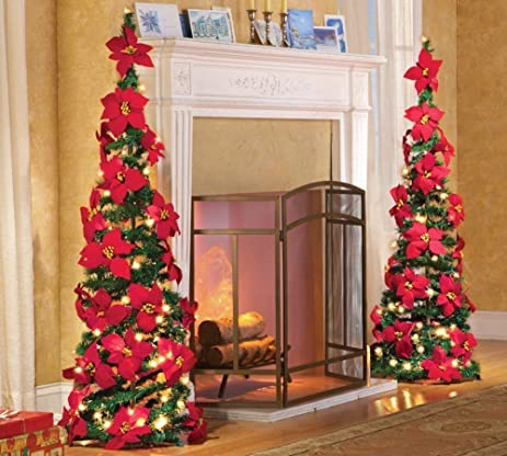lighted holiday poinsettia pull up artificial christmas tree red 52h - Pull Up Christmas Tree