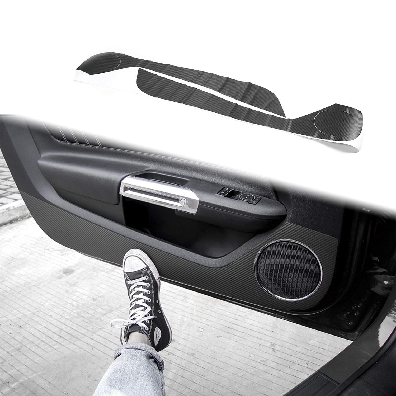 Voodonala for Ford Mustang 2015 2016 Carbon Fiber Door Anti Kick Sticker Decal Decor Trim Chrome ABS