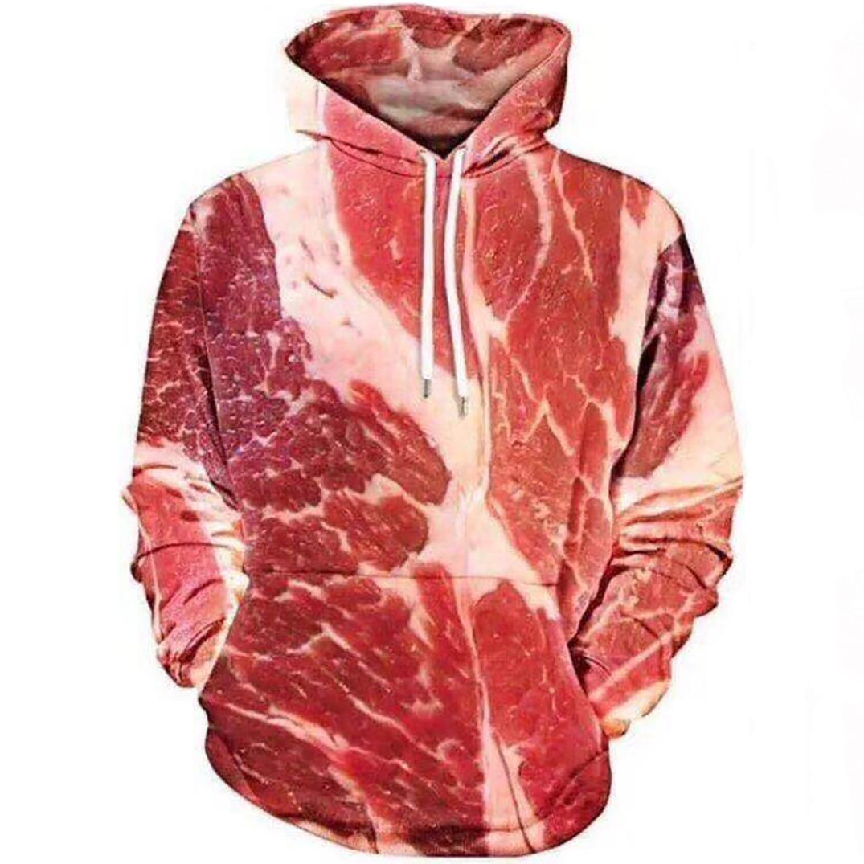 Unisex 3D Printed Raw Meat Long Sleeve 2018 Hoodie Pullover Hooded Sweatshirt Tops Blouse (Large(US4), Red)