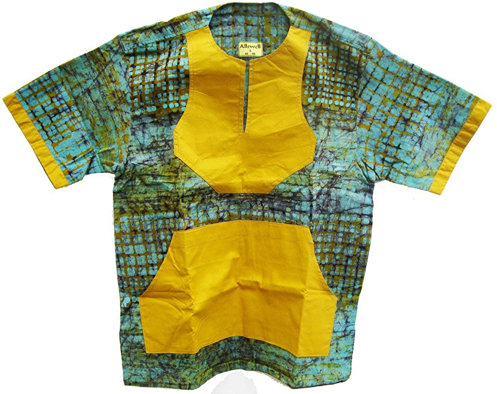 Allswell Mens Cotton Batik Fence Shirt Turquoise with Gold Pockets