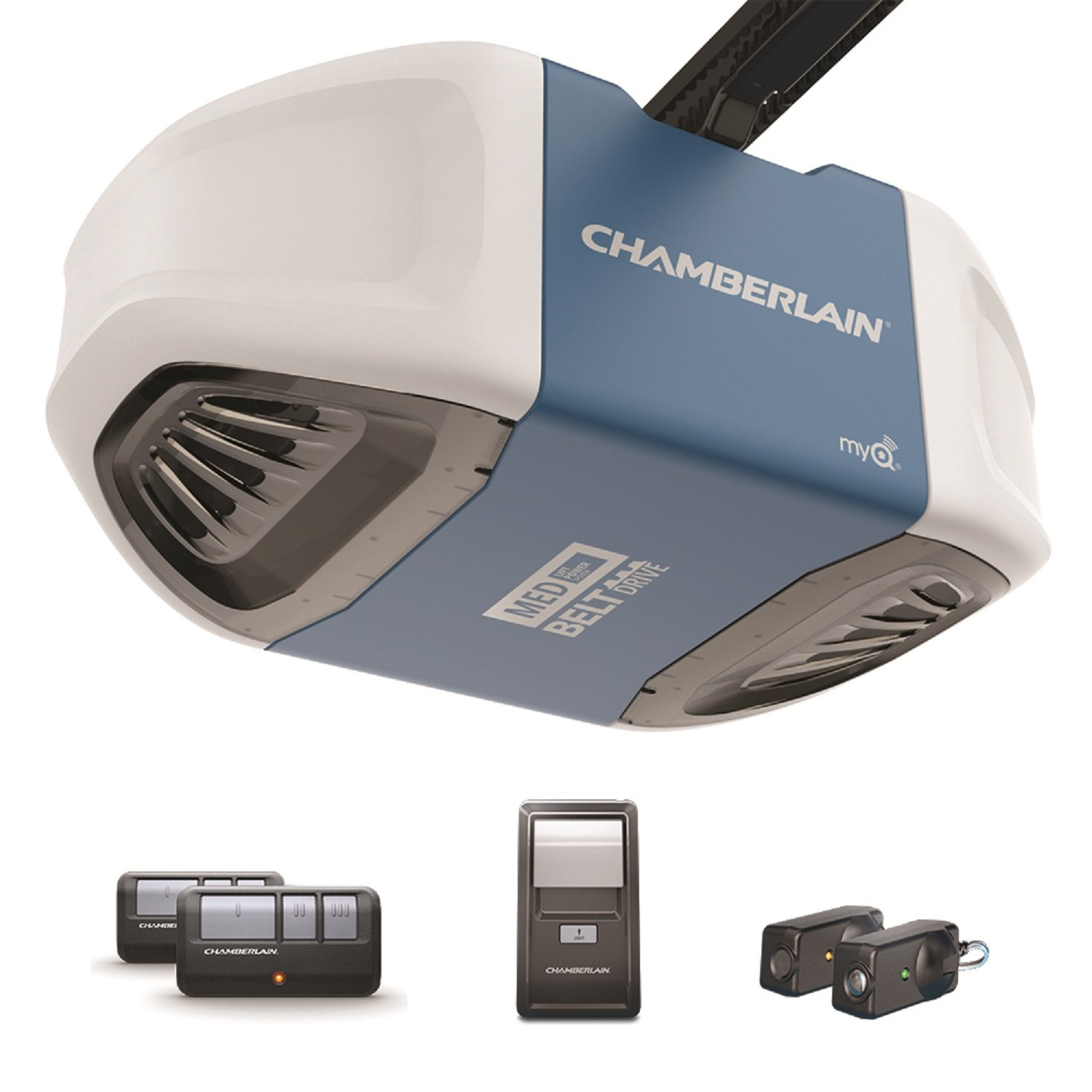 Chamberlain B503 Ultra-Quiet and Strong Belt Drive Garage Door Opener with Med Lifting Power, Blue
