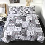 Sleepwish 4 Piece Cats Comforter Set for Twin Size Beds Grey and White Cats Bedding Sets 1 Cat Pattern Comforter 2 Pillow Sha