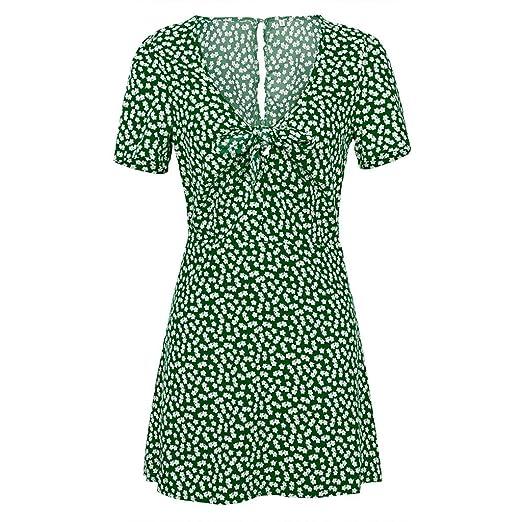 388aad157def Womens Summer Mini A-line Dress Ladies Short Sleeve Low Collar Beach Party  Dot Sundress Short Skirt at Amazon Women's Clothing store: