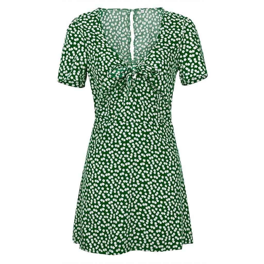 Womens Summer Mini A-line Dress Ladies Short Sleeve Low Collar Beach Party Dot Sundress Short Skirt (Green, Medium)