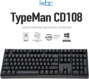 iKBC CD108 v2 Mechanical Keyboard with Cherry MX Brown Switch for Windows and Mac, Full Size Ergonomic Keyboard with PBT Double Shot Keycaps for Desktop and Laptop, 108-Key, Black, ANSI/US