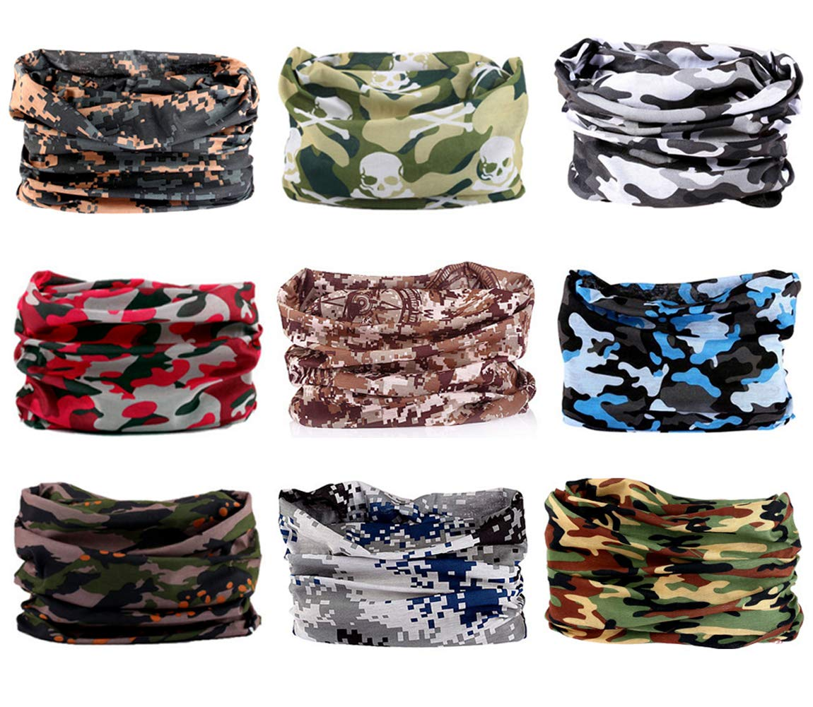 Multifunctional Headbands Neck Gaiters Scarf Bandanas Headwrap Face Musk Neckwarmer for Hiking Biking Fishing Climbing 6//9PCS
