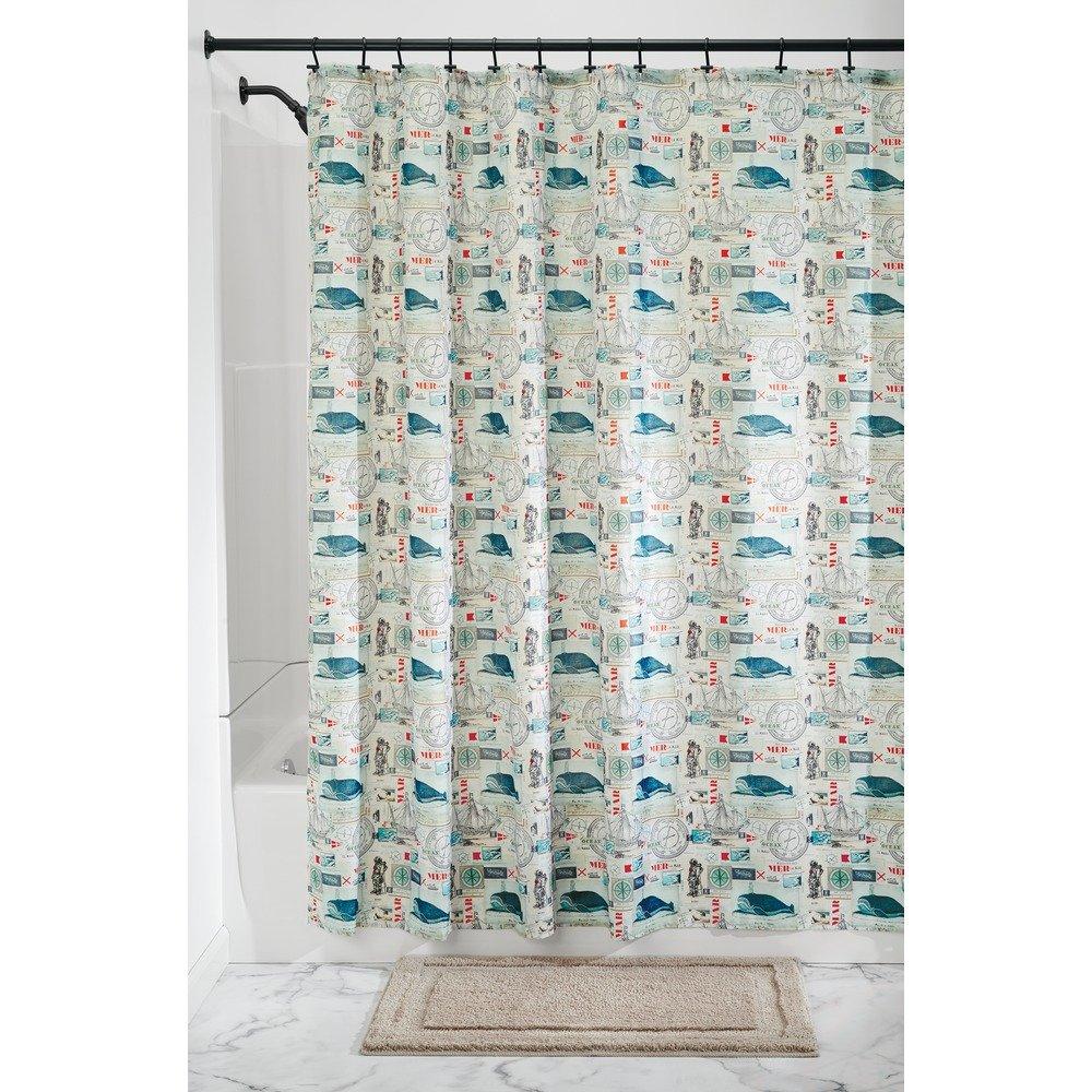 InterDesign Butterfly SC Tenda da doccia, Tenda per vasca da bagno in poliestere ad asciugatura rapida con farfalle 183 cm x 183 cm, grigio talpa 46420 bagnato; piede cavo