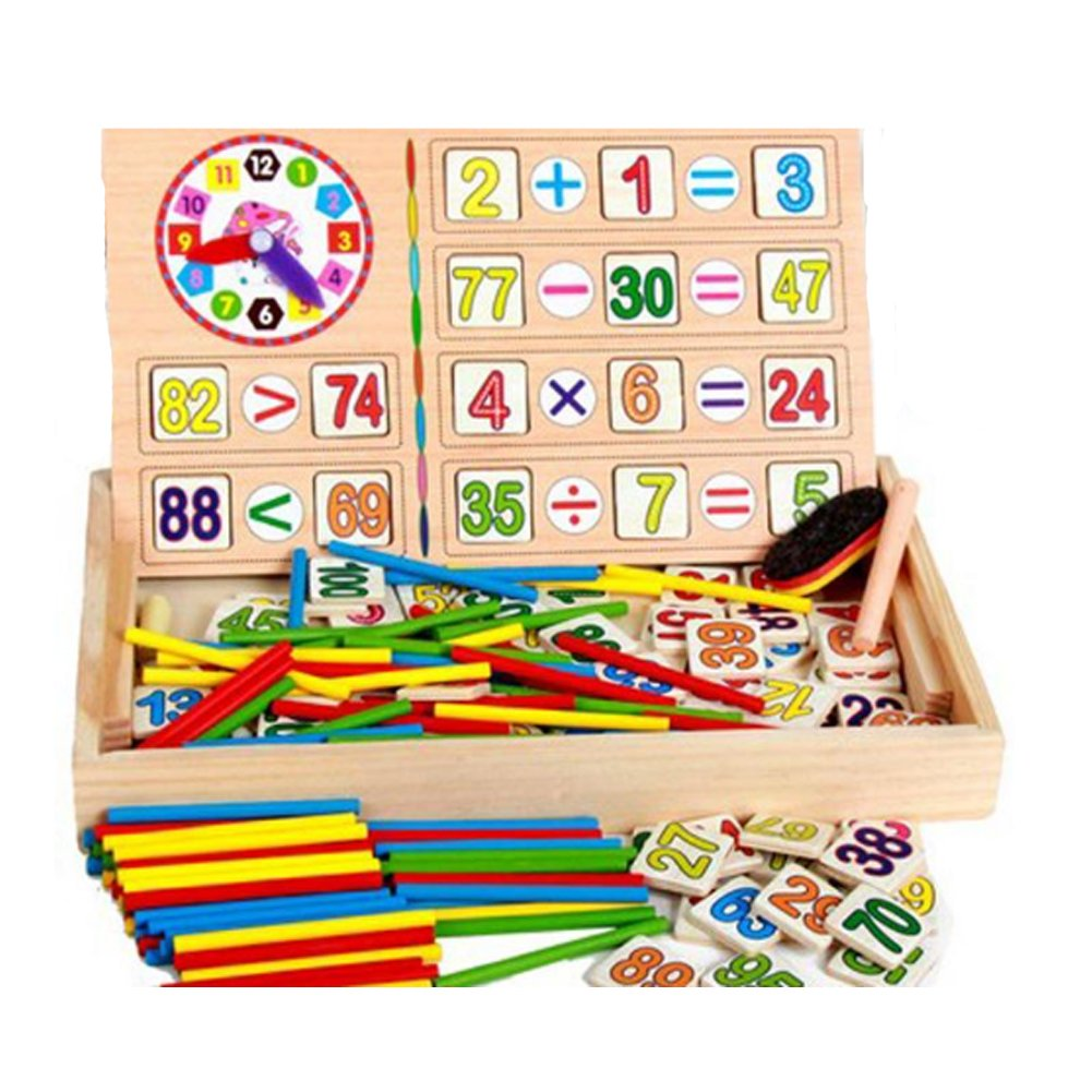 HiKid Toy Park Ponny Children Number Cards Calculation Time Learning Tool Math Educational Toy Wooden Sticks Clocks Counting Rods with Storage Box.