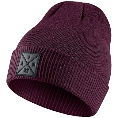 2a1d26bc55cb Image Unavailable. Image not available for. Color  Jordan Men s P51  Embroidered Knit Beanie Bordeaux Black