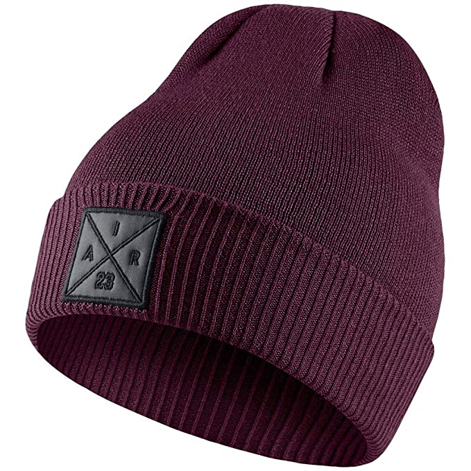 Image Unavailable. Image not available for. Color  Jordan Men s P51 Embroidered  Knit Beanie Bordeaux Black b0f397cd4eb6