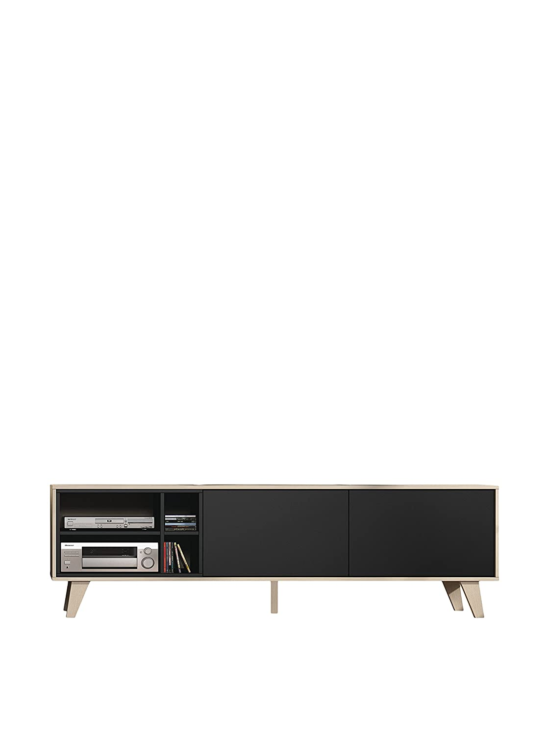 Retro Italy Tv Unit Dark Grey Oak Colour 180cm Wide Amazon Co  # Meuble Tv Zaiken