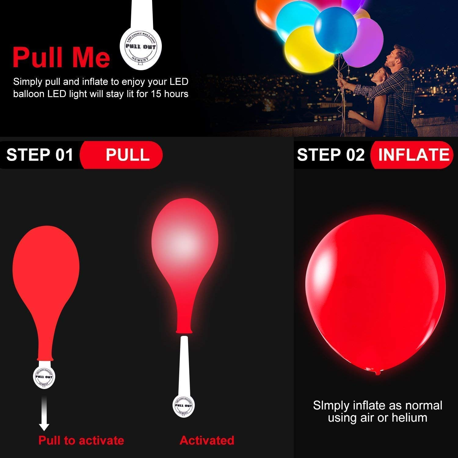 TECHSHARE 32 Pack LED Light Up Balloons, 8 Colors Flashing Lights Glow in The Dark Balloons for Party Supplies Birthday Party Wedding Decorations - Can be Filled with Helium, Air by TECHSHARE (Image #7)