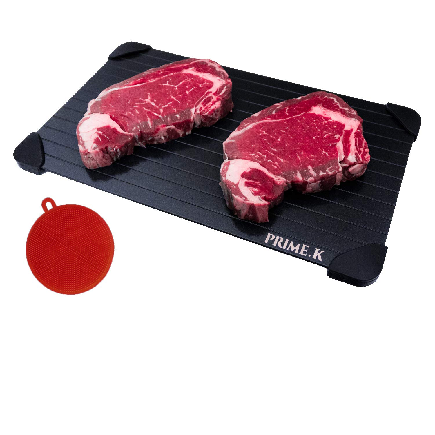 Defrosting Tray - Extra Large for Fast Thawing your Frozen Foods with Protective Silicone Corners. Eco Friendly - Uses no Electricity, Chemicals nor Microwave. Bonus Silicone Cleaning Sponge and eBook