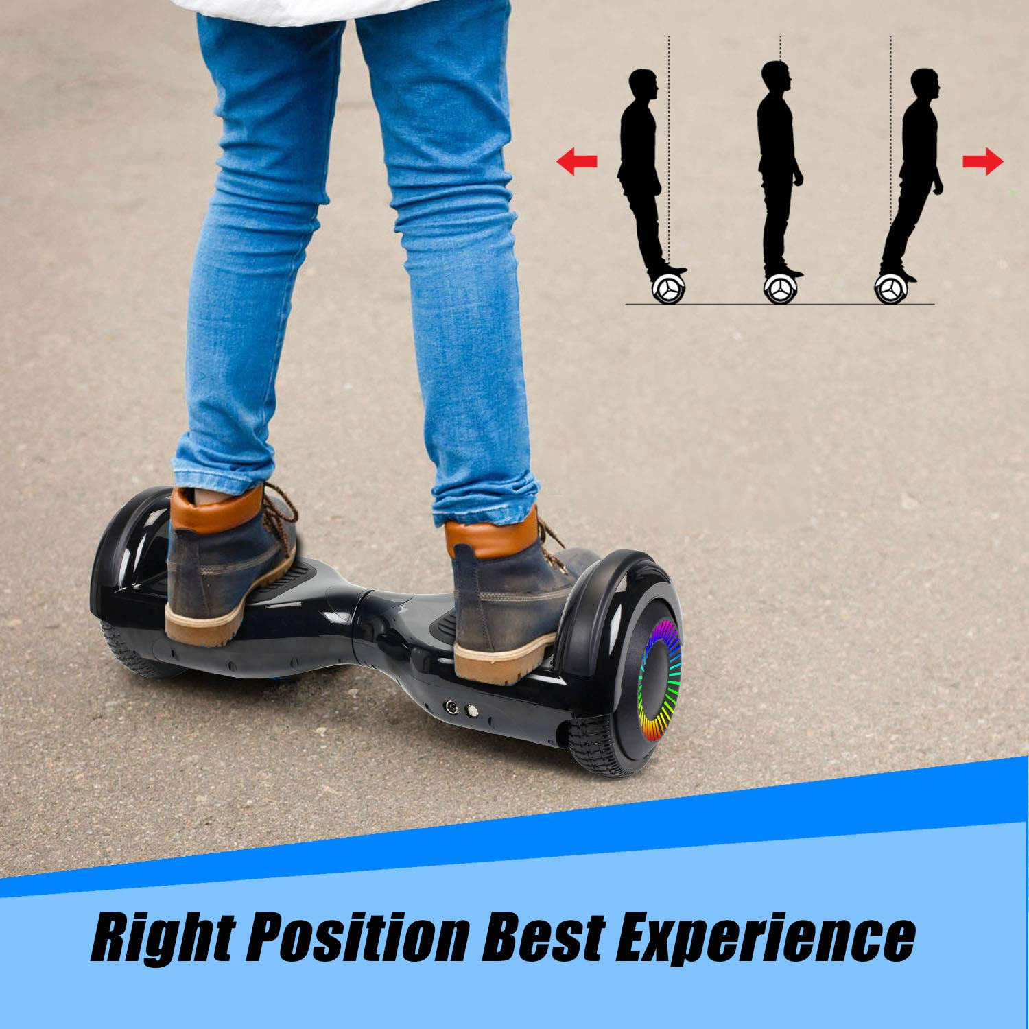 """SWEETBUY Hoverboard UL 2272 Certified 6.5"""" Two-Wheel Bluetooth Self Balancing Electric Scooter with LED Light Flash Lights Wheels Black (Free Carry Bag) by SWEETBUY (Image #6)"""