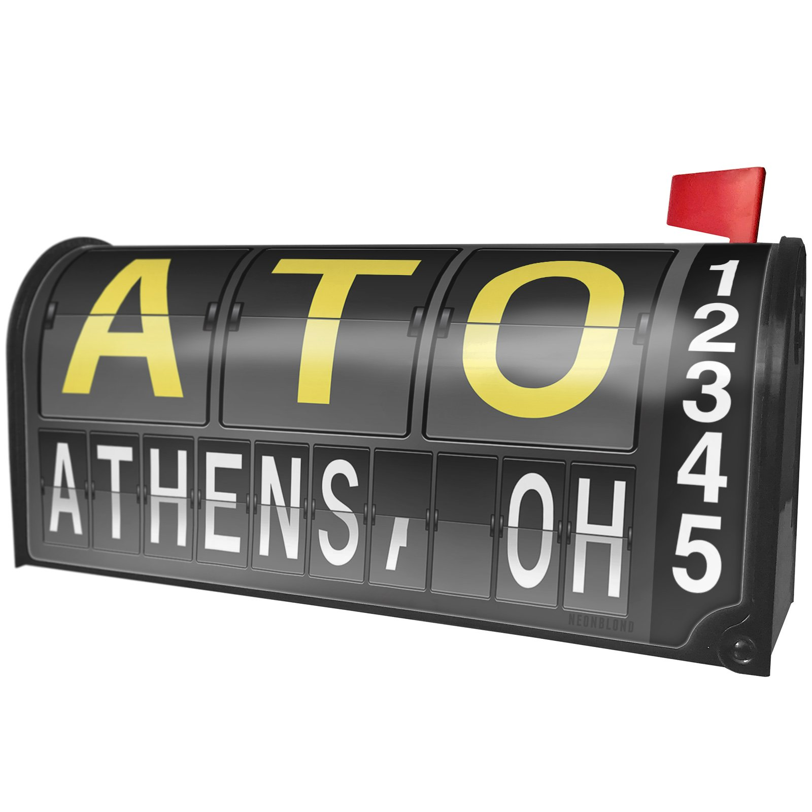 NEONBLOND ATO Airport Code for Athens, OH Magnetic Mailbox Cover Custom Numbers