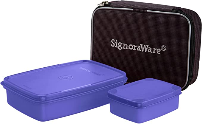 Signoraware Compact Small Lunch Box with Bag, 2 Pieces, Deep Violet Lunch Boxes