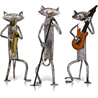 TOOARTS Statue Decorative, Gatto Band Sculpture 3 Playing Music Gatto Concert Gatto Scultura Combinazione Home Ornament Scultura Creativa