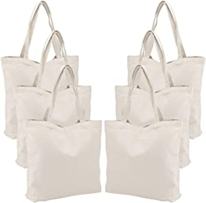 6 Packs Large Canvas Tote Bags, Segarty 20X15 Inch Reusable Grocery Bags, Heavy Duty Shopping Bags with Bottom Gusset, Natural White Blank Cloth Shoulder Bags Perfect for DIY Crafting Decorating