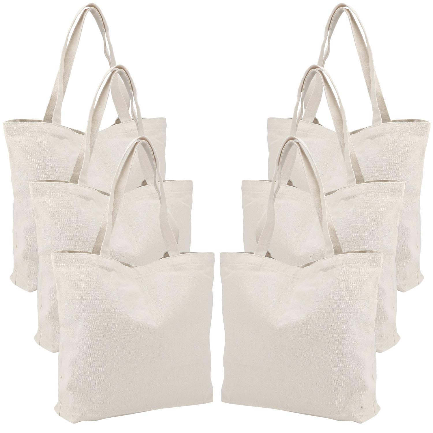 32d1d506194 6 Packs Large Canvas Tote Bags, Segarty 20X15 Inch Reusable Grocery Bags,  Heavy Duty Shopping Bags with Bottom Gusset, Natural White Cloth Blank ...