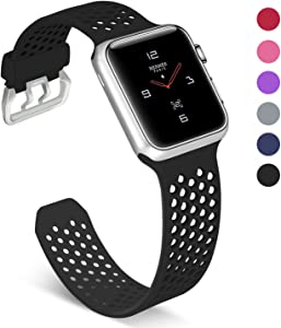 UMAXGET Compatible with Apple Watch Band Series 4 42mm/44mm 38mm/40mm Series 5, Soft Silicone Breathable Sport Band Compatible with iWatch Series 3/2/1 for Men Women