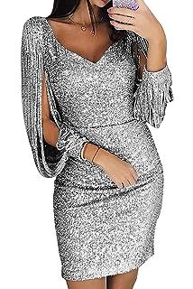 Vestito Donna con Scollo V Abito Donna Paillette Vestito da Invernale Manica  Lunga 5c91e4240db