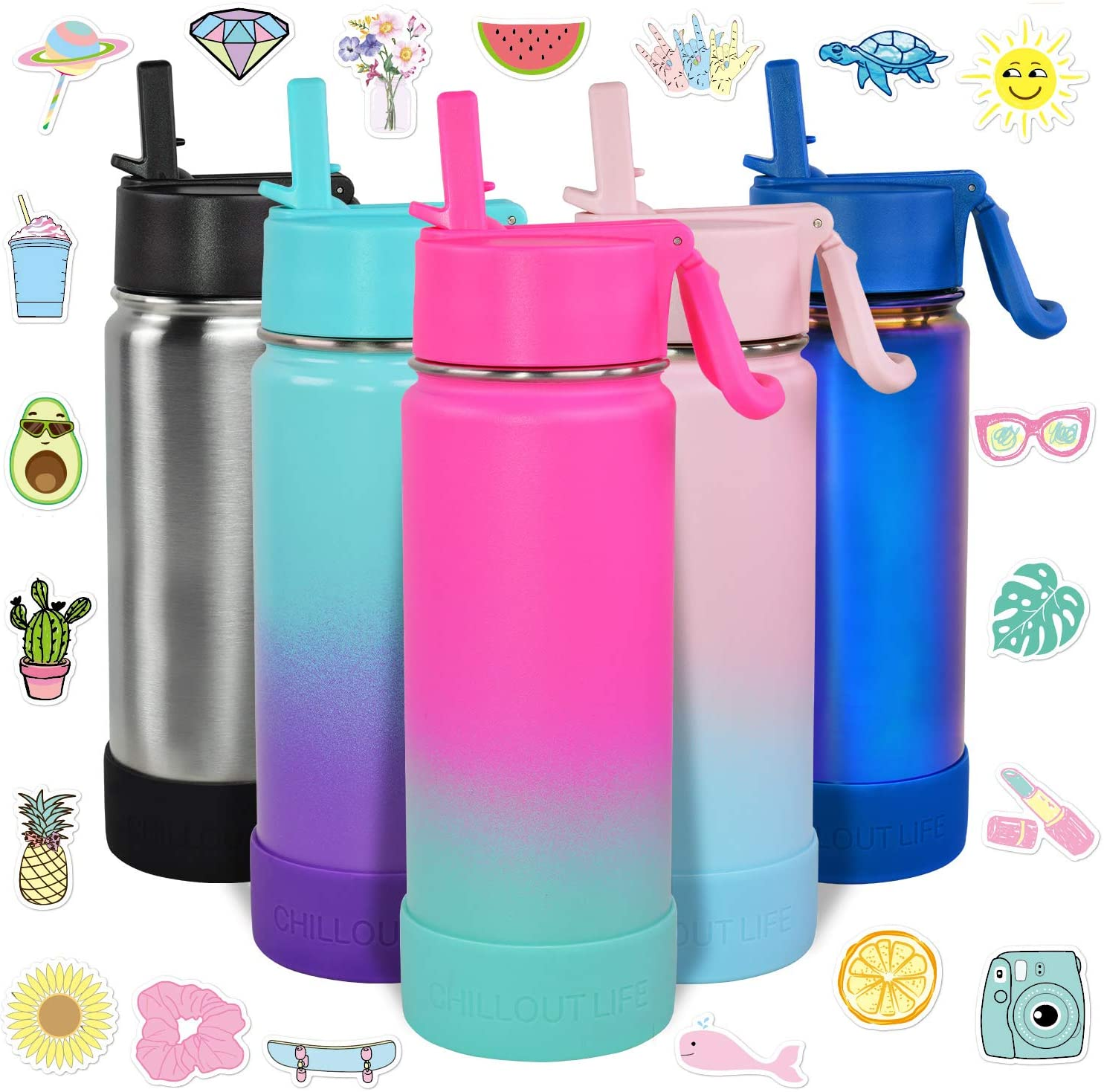 CHILLOUT LIFE 12 oz Insulated Water Bottle with Straw Lid for Kids 20 Cute Waterproof Stickers Perfect for Personalizing Your Kids Metal Water Bottle