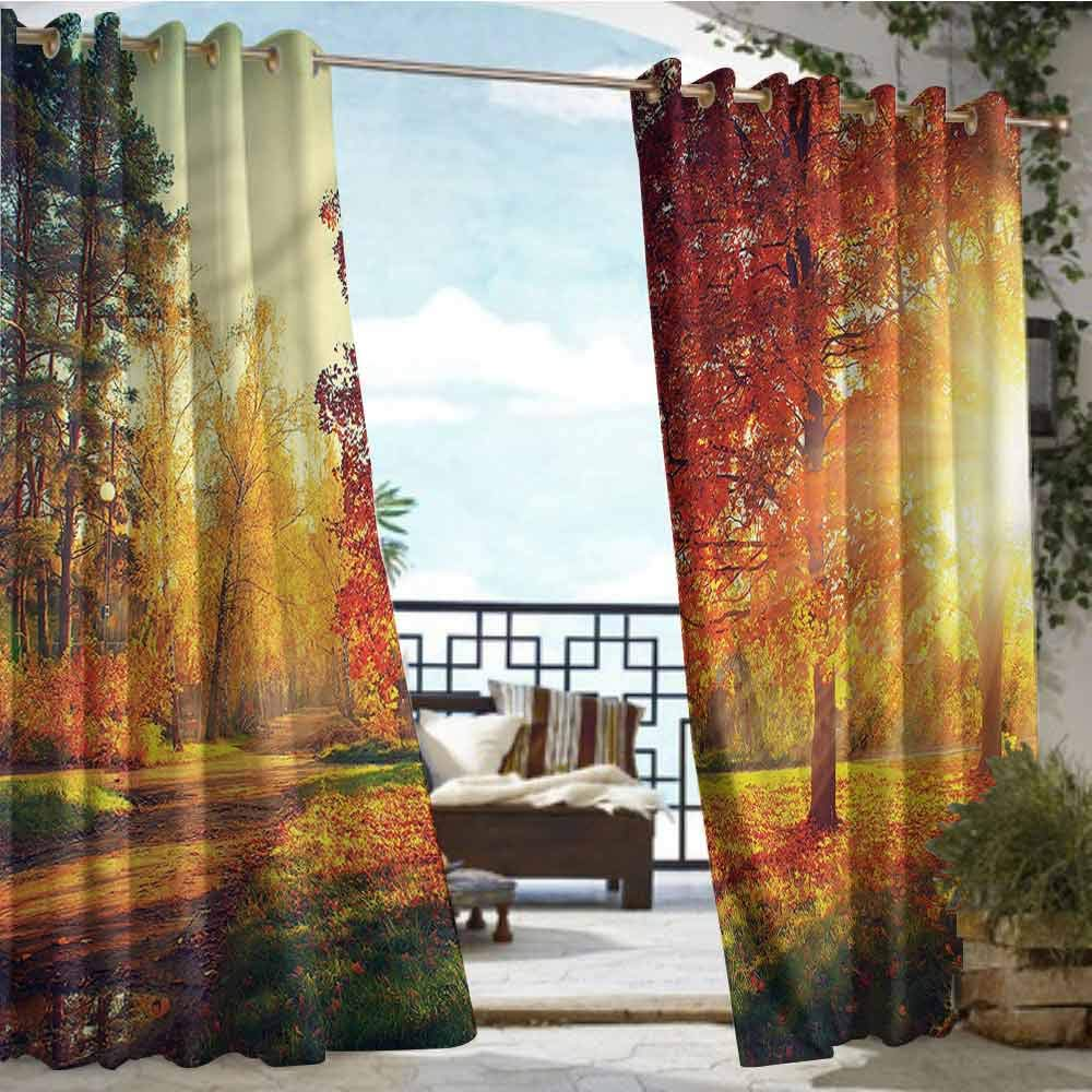 crabee Outdoor Privacy Curtain for Pergola Fall,Misty Day in The Forest,W84 xL84 for Front Porch Covered Patio Gazebo Dock Beach Home