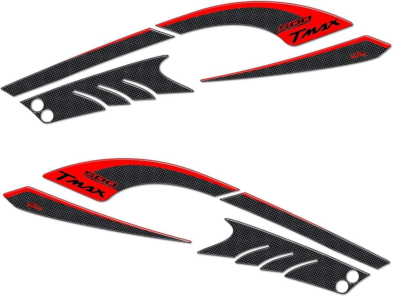 Kit Autocollant 3D Protections Lat/éral Compatible avec Tmax 2008-2011 Rouge